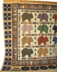 BEAR'S PAWS PLUS BEARS QUILT WITH  FLYING GEESE SASHING, FOUR WINDMILLS AND TRIANGLES            PC