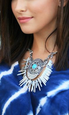 Turquoise pendant statement necklace with edgy daggers