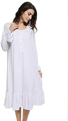 Mobisi Women s Pink Cotton Victorian Vintage Nightgown Long Sleeve Martha  Lawn Ballet Sleep Shirt Dress ( 965b666e4