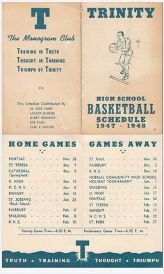 Bloomington Trinity High School Vintage Basketball Schedule 1947-48 Bloomington IL