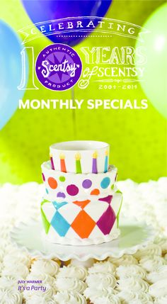 "How CUTE is this Scentsy warmer?!?  JULY 2014 warmer of the month called ""It's a Party""!  Scentsy turns 10 in July! Join in the celebration with this topsy-turvy cake. It's decorated in hand-painted colorful fondant, edged in piped frosting, and surrounded by 10 candles to make your birthday wishes come true.  Available at 10% off on July 1, 2014"