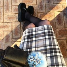 """Kaicee on Instagram: """"Finished work for the day  #legs#selfie#plaid#pencilskirt#tights#creepers#platforms#flatforms#backpack#pompom#cute#grunge#gothic#edgy#alternative#punk#style#fashion#fashionblogger#nutkaic"""""""
