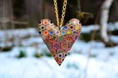 Colored pencils necklace  heart by carbickova on Etsy