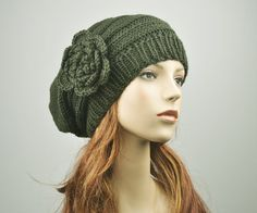 Hand Knit Hat  Oversized  Beret Hat with crochet by MaxMelody, $38.00