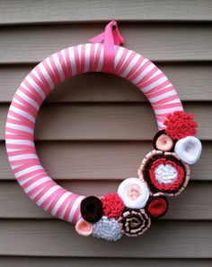 Valentine's Day Wreath - Pink & White Striped Ribbon Wreath Decorated w/ felt flowers.  - It's A Girl Wreath - Valentine's Day Decoration