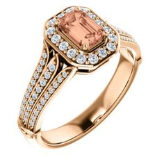 Unique Diamond Antique Square Cushion Halo Emerald Diamond Engagement Ring 14K Rose Gold Vintage Style - Choose Morganite or Imperial Topaz by LyonsJewelry, $1065.00