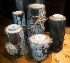 For the patio   Rustic Wedding Centerpiece, cheap wedding centerpiece, rustic wood centerpiece, Candle Centerpiece, fall decor, wedding decor. $18.00, via Etsy.