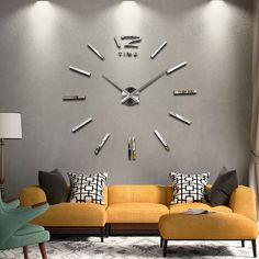 Modern 3D Big Mirror Wall Clock