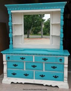 Chunky Dresser with Mirror Hutch in distressed Off White  Turquoise with Black Glaze. Original pulls painted black. From Facelift Furniture's Dressers collection.