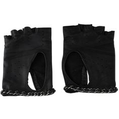 Pre-Owned Chanel Black Leather Chain Fingerless Gloves ($960) ❤ liked on Polyvore featuring accessories, gloves, black, chanel gloves, chanel, leather gloves, chain gloves and real leather gloves