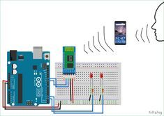 Voice Controlled LEDs Circuit diagram using Arduino and Bluetooth Arduino Bluetooth, Arduino Wifi, Arduino Programming, Arduino Circuit, Arduino Laser, Electronic Circuit Projects, Electrical Projects, Electronic Engineering, Iot Projects