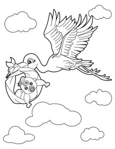 Printable Stork With Baby Coloring Page Kids Colouring, Baby Coloring Pages, Stork, Baby Cards, Beanie Hats, Free Printables, Snoopy, Birds, Activities