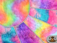 "Faux Fur Long Pile Shaggy Rainbow Wave Fabric / 60"" Wide / Sold By The Yard"