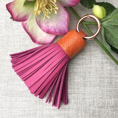 Fuchsia and orange leather tassel