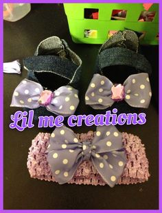 Jean booties with matching head band for new born
