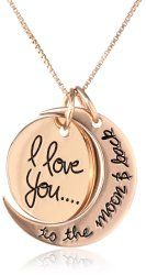 "Sterling Silver ""I Love You To The Moon and Back"" Two Piece Pendant Necklace, 18"" Two complementary pendants rotate around each other in this warm-hearted style complete with a sweet and tender saying. Box chain with spring-ring clasp Crafted in .925 gold plated sterling silver. Imported"