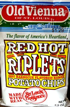 Old Vienna of St. Louis Red Hot Riplets Potato Chips (STL Pin of the Day, 5/29/2014).