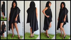 Black dress /Tunic Dress/ Black maxi top /Oversize black blouse / Extravagant black top /Casual loose tunic / plus size one shoulder  top by ClothesByLockerRoom on Etsy https://www.etsy.com/uk/listing/217715123/black-dress-tunic-dress-black-maxi-top