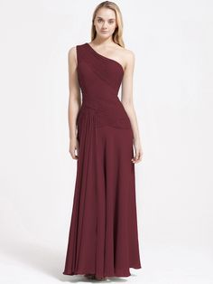 """Pleated Bodice Chiffon Bridesmaid Dress     """"Peter: Well, get a wine-colored one, then. I've always wanted to see you in wine.   Harriet: Port or sherry?  Peter: What?  Harriet: The frock -- port or sherry?  Peter: Claret, Chateau Margaux 1893 or thereabouts. I'm not particular to a year or two."""""""