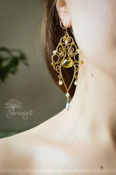 Brass wire wrapped earrings / Купить Большие длинные латунные серьги люстры с натуральными камнями бохо - красивые серьги изящные