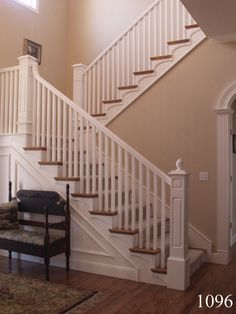 """Painted grade routed panel box newels with 1.25"""" square painted balusters and painted handrail. Force Movie, White Stairs, All White, Decoration, Craftsman, Box, Home Decor, Home Decoration, Decor"""