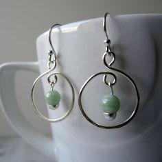 Jade hoop earrings Jadeite earrings genuine by CalicoRoseStudio