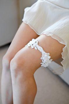 MOLLIE lace wedding garter couture garter white by percyhandmade