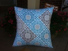 Blue Brown Beige floral pillow cover, cushion,decorative throw pillow, decorative pillow, accent pillow, 18x18 pillow, pillow case
