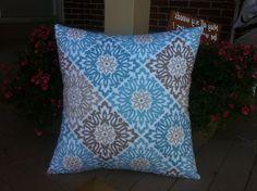 Blue Brown Beige floral pillow cover by ThatDutchGirlPillows, $15.00