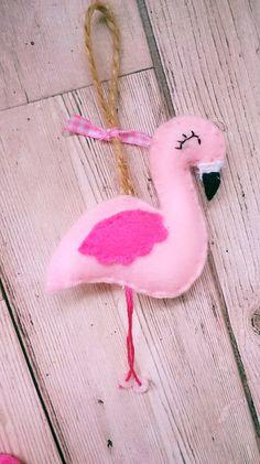 Pink Felt Flamingo Hanging Decoration