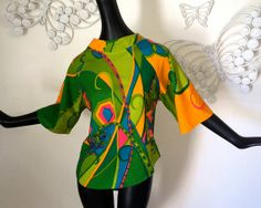 MOD Psychedelic Pucci Style Blouse Top Vintage by elliemayhems, $65.00