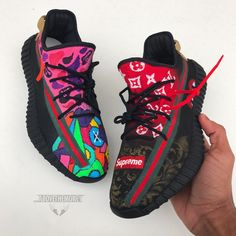 ayyy lit🔥🔥yeezy x gucci x supreme x LV x aape x cdg Yeezy Sneakers, Gucci Shoes Sneakers, Hype Shoes, Yeezy Shoes, Girls Sneakers, Custom Sneakers, Custom Shoes, Casual Sneakers, Mens Fashion Shoes