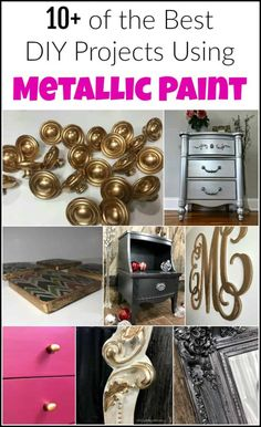 of the Best DIY Projects Using Metallic Paint Metallic paint can do amazing things for your painted furniture and DIY projects. The options are endless when it comes to using shimmery gorgeous metallic paint. Silver Metallic Paint, Metallic Painted Furniture, Rocking Chair Makeover, Mirror Makeover, Paint Brands, Furniture Makeover, Diy Furniture, Furniture Design, Cool Diy Projects