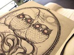 Tattoo drawing owls creepy but cool!