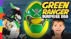 Green Power Ranger Megaforce Toys Giant Surprise Egg: Mighty Morphin Ima...