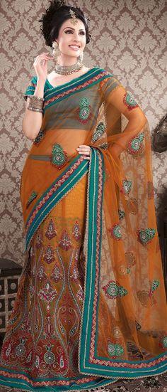 #Orange Net #Lehenga Style #Saree With Blouse @ $165.72