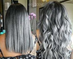 Granny Silver/ Grey Hair Color Ideas: Steel Grey Ombre Hair #makeupideassilver