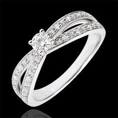 bague or blanc double anneau