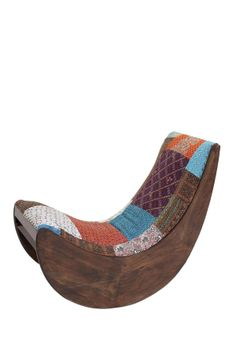 """Wood Fabric Rocking Chair in multi color $1265 - $599 @HauteLook. - 38"""" L x 20"""" W x 33"""" D - Materials: Acacia Wipe with soft cloth. ***Cannot be shipped to Canada***"""