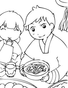 Korean Hanbok Coloring Page by AkaiTennyodeviantartcom on
