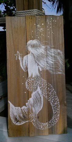 Mermaid art sign - painted mermaid - mermaid painting - reclaimed lumber - fence picket painting - rustic mermaid painting - beach house art by JeanosArt on Etsy https://www.etsy.com/listing/499671217/mermaid-art-sign-painted-mermaid-mermaid