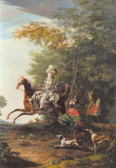 Marie Antoinette hunting with Louis XVI  in the background. Louis-Auguste Brun, 1783