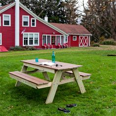 How to Build a Picnic Table - DIY Woodworking Project - Popular Mechanics. The top and bench seats are made from composite decking. Smart! Even if I don't use this plan, I will use composite decking!