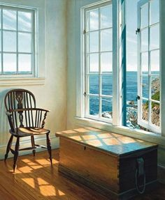 Coastal Living Rooms Archives - Cute Home Designs Window View, Window Art, Open Window, House By The Sea, Up House, Ideal House, Design Apartment, Cottages By The Sea, Through The Window
