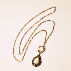 $3.62 Exaggerated Openwork Water Drop Shape Pendant Sweater Chain For Women