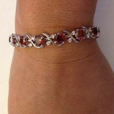 Bracelet Red Ruby White Topaz 925 Sterling Silver Bracelet Jewelry.(NEW) No Trades. No Holds. No PayPal. Jewelry Bracelets