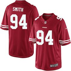 Nike San Francisco 49ers #94 Justin Smith Red Limited Throwback Men Jersey