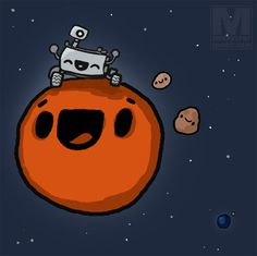 geekyjessica:    murphypop:    Mars says hello to its new friend!#MSL#Curiosity    IT'S SO CUTE YOU GUYS!