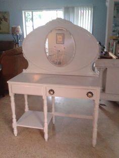 vanity vintage redo headboard desk, painted furniture, repurposing upcycling