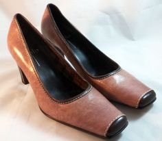 LINEA PAOLO Shoes ~ Pink and Brown pumps high heels w/ white accents ~ Sz 5.5 M #LineaPaolo #Mules